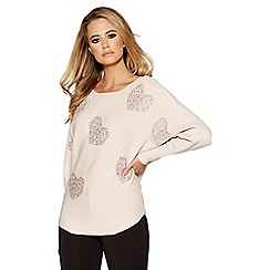 Quiz - Nude and silver diamante heart light knit batwing jumper