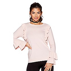 Quiz - Pink light knit ruffle jumper