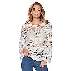 Quiz - Cream crochet frill sleeves box top