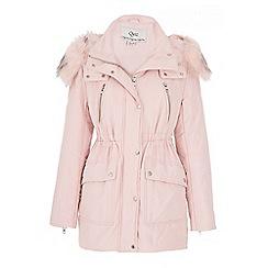 Quiz - Pink padded faux fur collar jacket