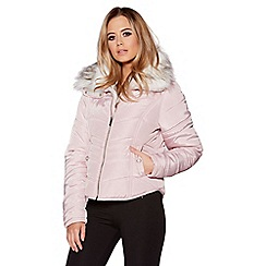Quiz - Pink quilted white faux fur collar jacket