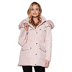 Quiz - Pink quilted faux fur hooded jacket
