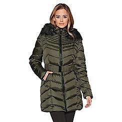 Quiz - Khaki chevron 3/4 belted hood jacket