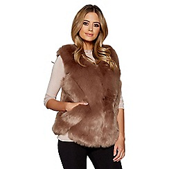 Quiz - Brown faux fur chevron gilet