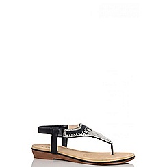 Quiz - Black diamante sling-back flat sandals