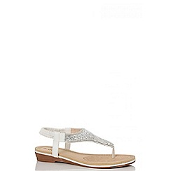 Quiz - White diamante sling-back flat sandals
