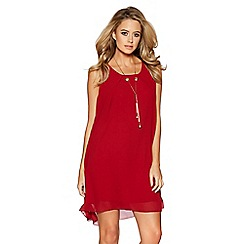 Quiz - Wine chiffon necklace tunic dress