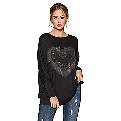 Quiz - Black and silver diamante heart loose fit top