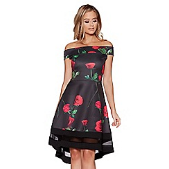 Quiz - Black and red rose print dip hem bardot dress