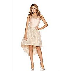 Quiz - Champagne satin and mesh dip hem dress