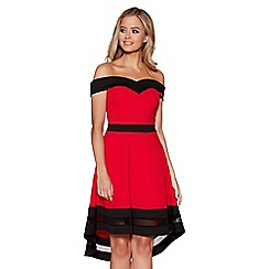 Quiz - Red and black bardot mesh detail dip hem dress