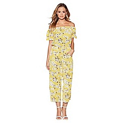 Quiz - Yellow and white floral print culotte jumpsuit