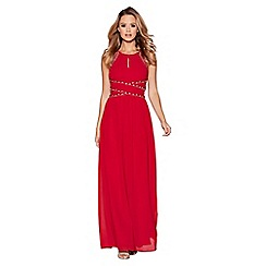 Quiz - Berry chiffon embellished keyhole maxi dress