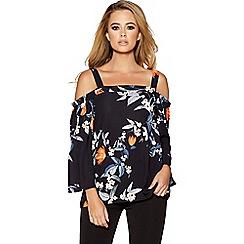 Quiz - Black and orange floral print cold shoulder top