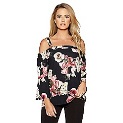 Quiz - Black and wine flute sleeves cold shoulder top