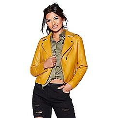Quiz - Mustard polyurethane biker jacket