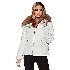 Quiz - White padded faux fur collar zip jacket