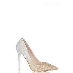 Quiz - Gold and silver glitter ombre court shoes