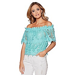 Quiz - Aqua crochet bardot top