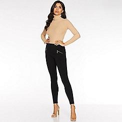 Quiz - Black fleece lined zip detail leggings