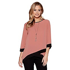 Quiz - Peach and Black contrast 3/4 sleeves necklace top