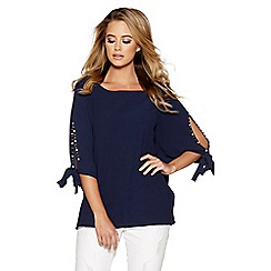 Quiz - Navy split tie sleeve batwing top