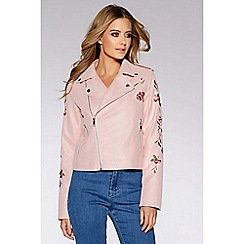 Quiz - Pink embroidered biker jacket