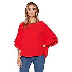 Quiz - Red pleated sleeves dip hem top