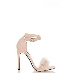 Quiz - Nude faux suede feather detail heeled sandals