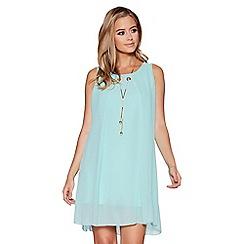 Quiz - Aqua chiffon necklace tunic dress