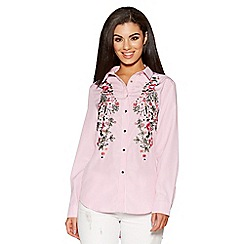 Quiz - Pink and white stripe embroidered shirt
