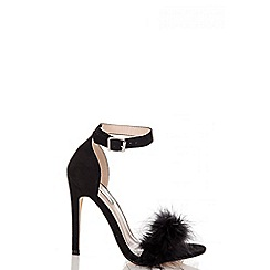 Quiz - Black faux suede feather detail heeled sandals