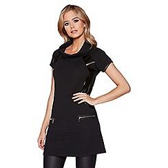 Quiz - Black PU trim roll neck tunic dress
