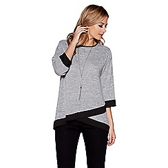 Quiz - Grey and black 3/4 sleeves necklace top