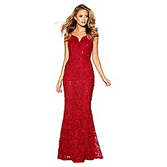 Quiz - Berry lace sequin bardot maxi dress