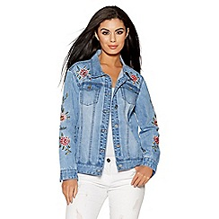 Quiz - Light blue floral embroidered denim jacket