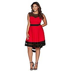 Quiz - Curve red and cream mesh dip hem dress