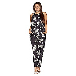 Quiz - Curve black and yellow floral print high neck jumpsuit