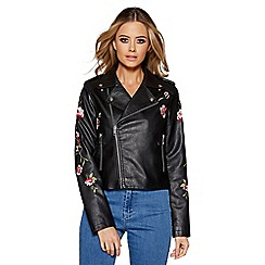 Quiz - Black polyurethane embroidered biker jacket