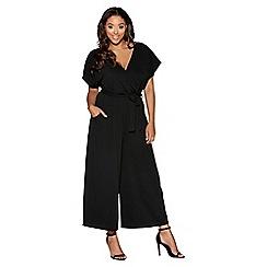 Quiz - Curve Black Crepe Wrap Front Culotte Jumpsuit
