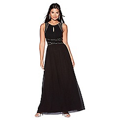 Quiz - Black chiffon embellished keyhole maxi dress