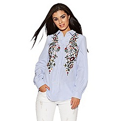 Quiz - Blue and White striped embroidered shirt