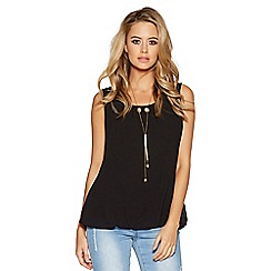 Quiz - Black chiffon necklace bubble top