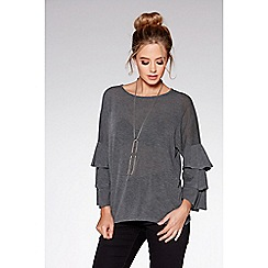 Quiz - Grey frill sleeves light knit necklace top