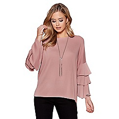 Quiz - Dusty pink frill sleeves light knit necklace top