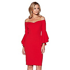 Quiz - Red frill sleeves bardot midi dress