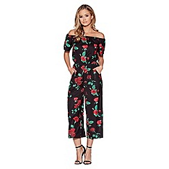 Quiz - Black and red rose print bardot culotte jumpsuit
