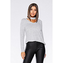 Quiz - Grey light knit choker detail top