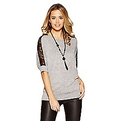 Quiz - Grey lace shoulder detail light knit necklace top