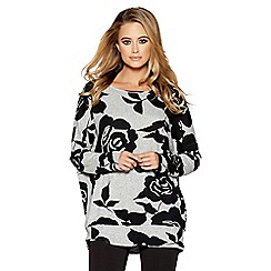 Quiz - Grey and black rose print light knit top